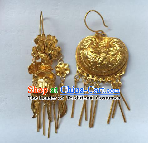 Chinese Traditional Miao Sliver Ornaments Accessories Golden Earrings For Women