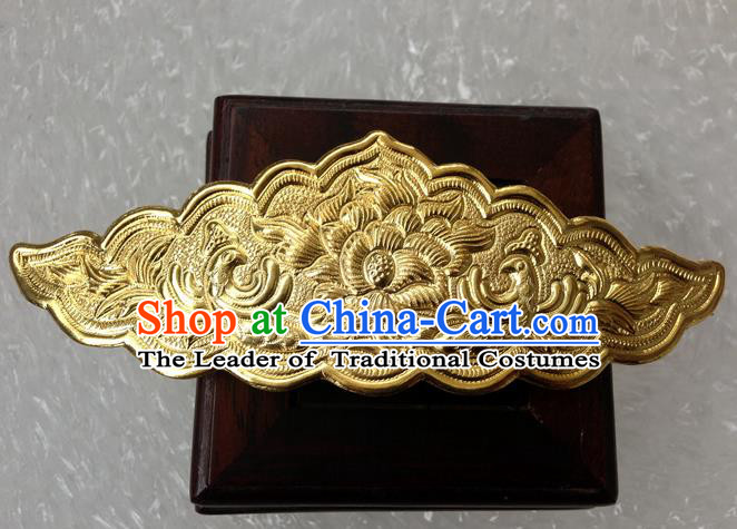 Traditional Chinese Miao Nationality Golden Hairdo Crown Hairpins Hair Accessories for Women