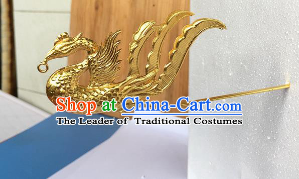 Traditional Chinese Miao Nationality Hair Clip Golden Phoenix Hairpins Hair Accessories for Women