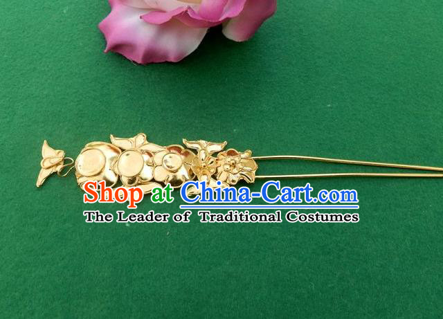 Traditional Chinese Miao Nationality Hair Accessories Golden Hairpins Hair Clip for Women