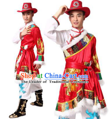 Traditional Chinese Zang Nationality Dance Costume, Tibetan Minority Folk Dance Ethnic Clothing for Men