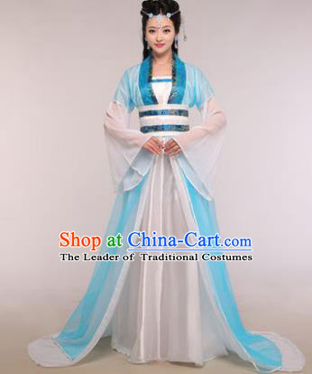 Traditional Chinese Ancient Fairy Costume Tang Dynasty Princess Blue Hanfu Dress for Women