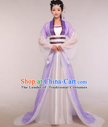 Traditional Chinese Ancient Fairy Costume Tang Dynasty Princess Purple Hanfu Dress for Women