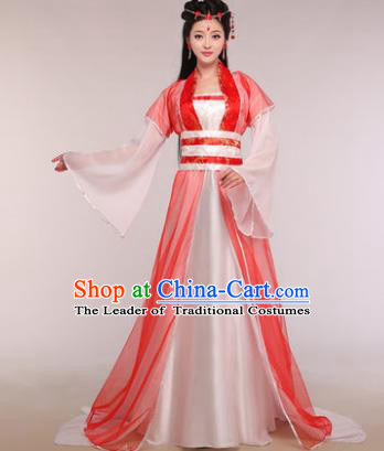 Traditional Chinese Ancient Fairy Costume Tang Dynasty Princess Red Hanfu Dress for Women