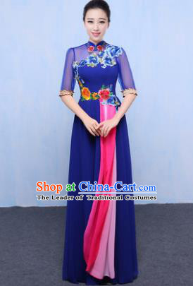 Chinese Traditional Chorus Singing Group Embroidered Costume, Compere Classical Dance Blue Dress for Women