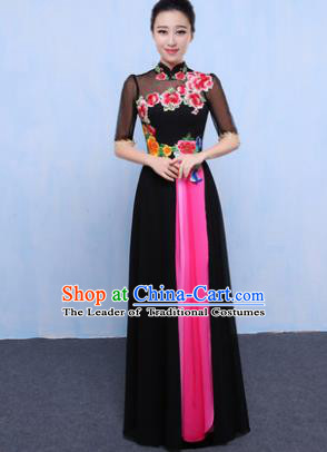 Chinese Traditional Chorus Singing Group Embroidered Costume, Compere Classical Dance Black Dress for Women