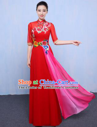 Chinese Traditional Chorus Singing Group Embroidered Costume, Compere Classical Dance Red Dress for Women