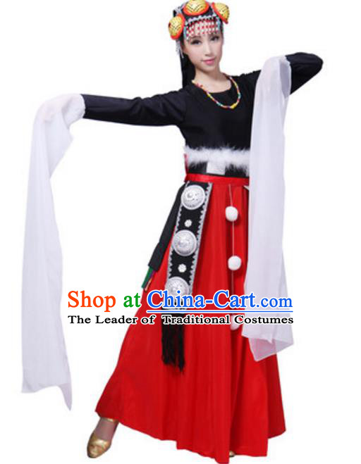 Traditional Chinese Tibetan Ethnic Dance Dress, China Zang Minority Folk Dance Costume and Headwear for Women