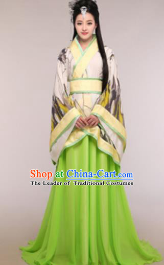 Traditional Chinese Ancient Palace Lady Costume Han Dynasty Princess Green Hanfu Dress for Women