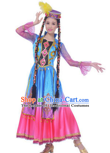 Traditional Chinese Uyghur Ethnic Dance Dress, China Uigurian Minority Folk Dance Costume and Hat for Women