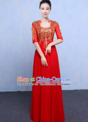 Top Grade Chorus Singing Group Modern Dance Embroidered Red Dress, Compere Classical Dance Costume for Women