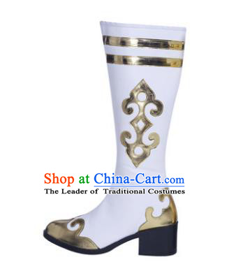 Chinese Traditional Mongols Dance White Shoes, Mongolian Minority Folk Dance Boots for Men