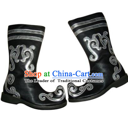 Chinese Traditional Uyghur Dance Shoes, Uigurian Minority Folk Dance Boots for Men