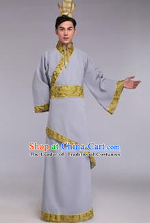 Traditional Chinese Ancient Scholar Costume Han Dynasty Minister Hanfu Grey Curving-front Robe for Men
