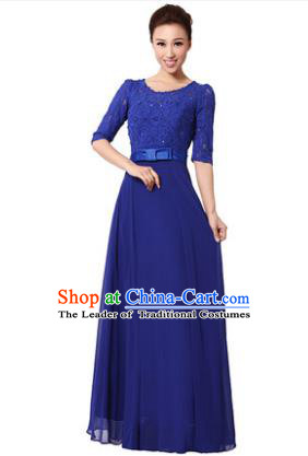 Professional Chorus Singing Group Stage Performance Costume, Compere Modern Dance Royalblue Lace Dress for Women