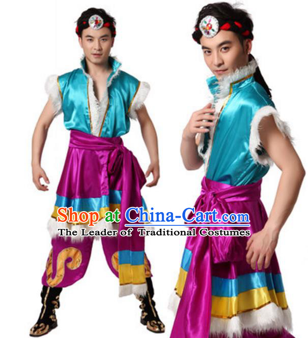 Traditional Chinese Zang Nationality Blue Clothing, Tibetan Minority Folk Dance Ethnic Costume for Men