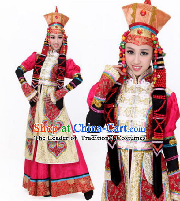Traditional Chinese Mongol Ethnic Princess Wedding Dress, Mongolian Minority Folk Dance Costume and Headwear for Women