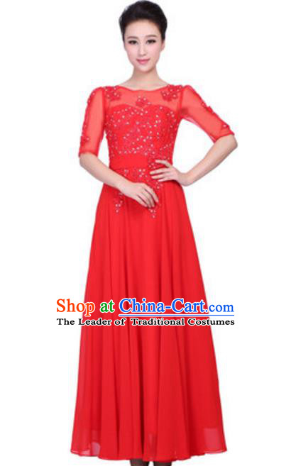 Top Grade Chorus Singing Group Embroidered Lace Full Dress, Compere Classical Dance Red Costume for Women