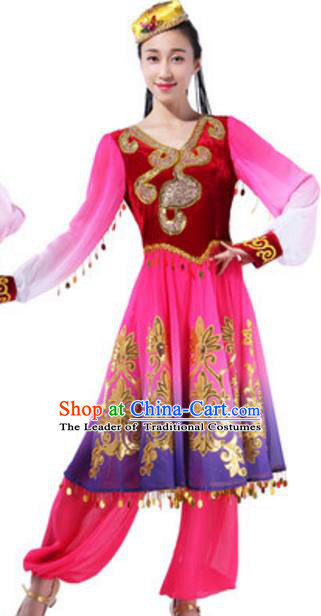 Traditional Chinese Uigurian Ethnic Dance Red Dress, China Uyghur Minority Folk Dance Costume and Headwear for Women