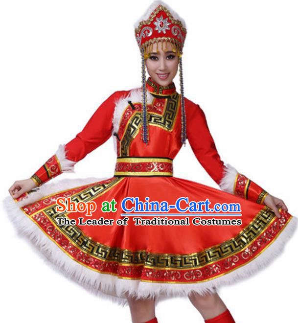 Traditional Chinese Mongol Nationality Ethnic Clothing, China Mongolian Minority Folk Dance Costume and Headwear for Women