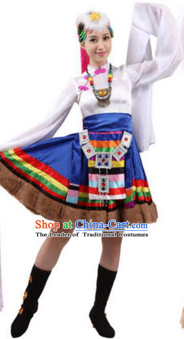 Traditional Chinese Zang Ethnic Dance Water Sleeve Dress, China Tibetan Minority Folk Dance Costume and Headwear for Women