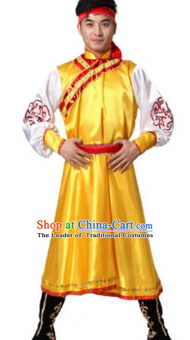 Traditional Chinese Mongolian Nationality Ethnic Clothing, China Mongols Minority Folk Dance Yellow Costume for Men