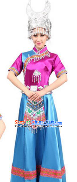 Traditional Chinese Miao Nationality Dance Rosy Dress, China Hmong Minority Folk Dance Ethnic Costume and Headwear for Women