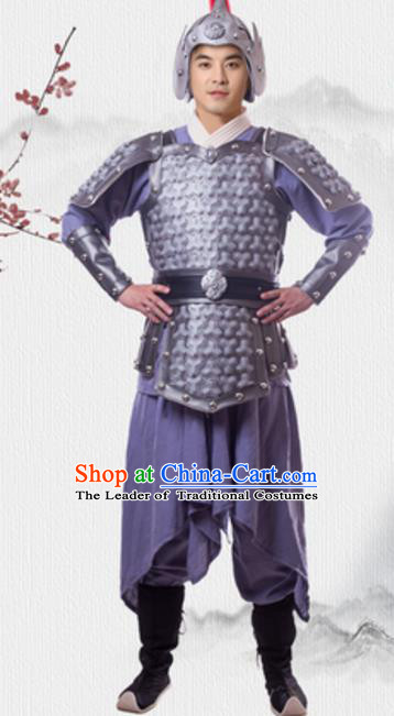 Traditional Chinese Ancient General Costume Han Dynasty Historical Body Armor and Helmet Complete Set