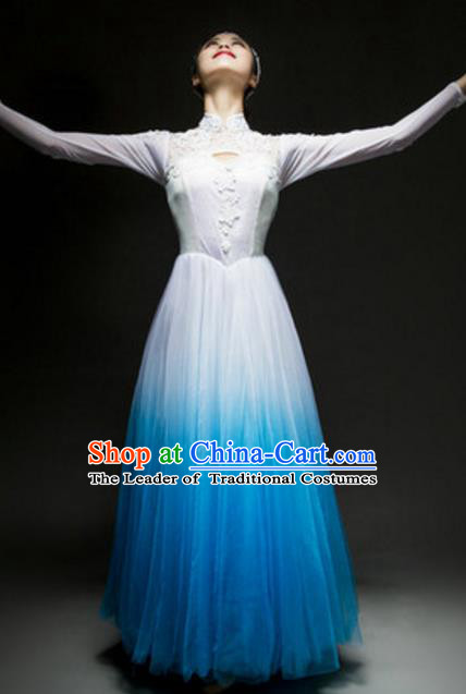 Top Grade Chorus Group Choir Blue Full Dress, Compere Stage Performance Classical Dance Costume for Women