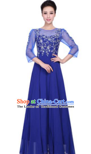 Top Grade Chinese Chorus Group Big Swing Blue Dress, Compere Stage Performance Choir Costume for Women