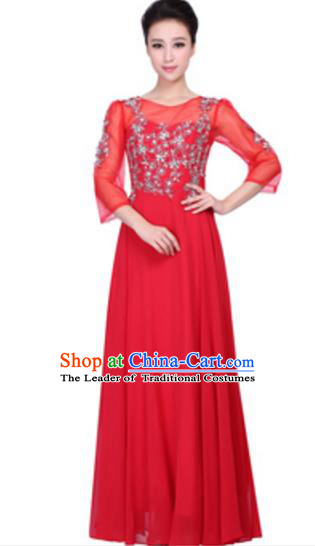 Top Grade Chinese Chorus Group Big Swing Red Dress, Compere Stage Performance Choir Costume for Women