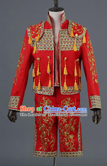 Top Grade European Traditional Court Costumes England Prince Red Suits for Men