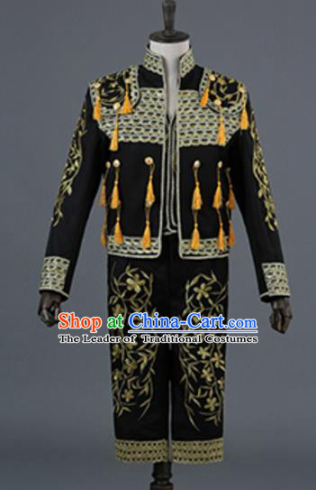 Top Grade European Traditional Court Costumes England Prince Black Suits for Men