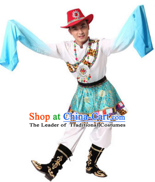 Traditional Chinese Zang Nationality Costume, Chinese Tibetan Ethnic Dance Clothing and Hat for Men