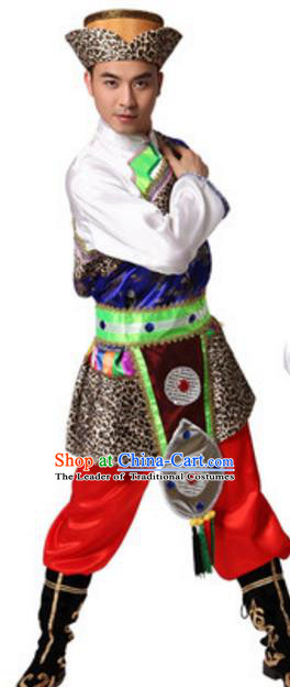 Traditional Chinese Zang Nationality Costume, Chinese Tibetan Ethnic Dance Clothing for Men