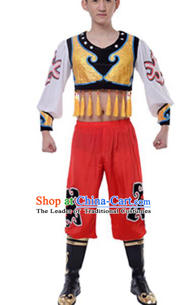 Traditional Chinese Mongols Nationality Swan Goose Dance Clothing, China Mongolian Minority Ethnic Costume for Men