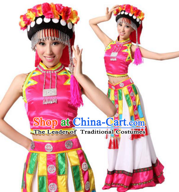 Traditional Chinese Yi Nationality Dance Dress, Chinese Female Yi Ethnic Dance Costume and Headwear for Women