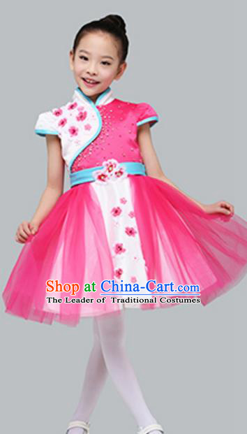 Top Grade Children Classical Dance Rosy Chorus Dress, Compere Stage Performance Choir Costume for Kids