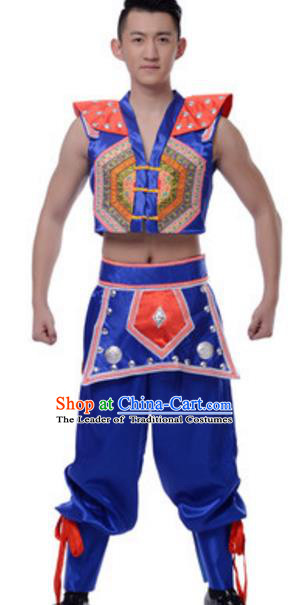 Traditional Chinese Yi Nationality Male Clothing, Chinese Yi Ethnic Dance Costume for Men