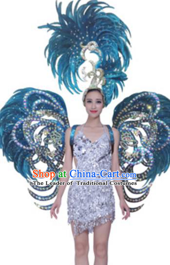 Top Grade Samba Dance Props Stage Show Brazil Parade Giant Blue Feather Butterfly Wings and Headpiece for Women