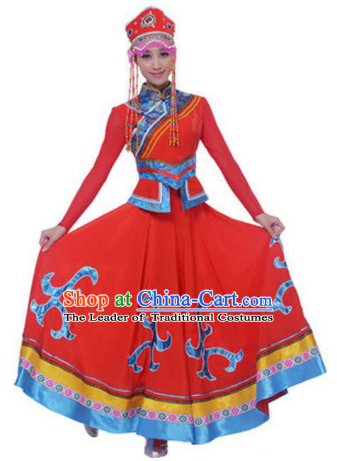 Traditional Chinese Minority Nationality Red Mongolian Robe, China Mongols Ethnic Dance Costume and Hat for Women