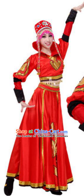 Traditional Chinese Mongols Nationality Female Red Dress, China Mongolian Ethnic Dance Costume and Headwear for Women