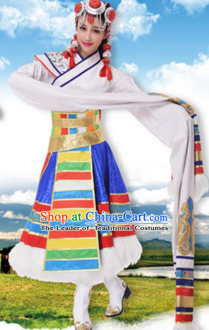 Traditional Chinese Zang Nationality Water Sleeve Dress, China Tibetan Ethnic Dance Costume and Headwear for Women