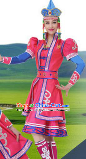 Traditional Chinese Mongol Nationality Rosy Dress, China Mongolian Ethnic Dance Costume and Headwear for Women
