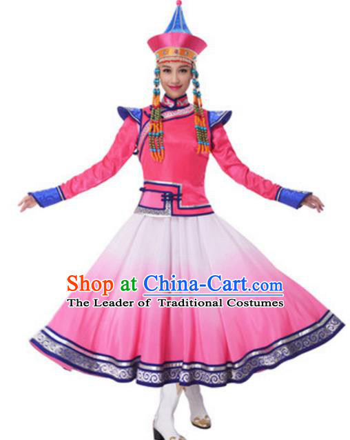Traditional Chinese Mongol Nationality Princess Pink Dress, China Mongolian Ethnic Dance Costume and Headwear for Women