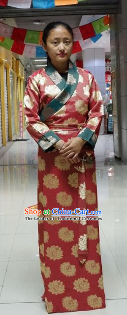 Chinese Traditional Zang Nationality Red Brocade Dress, China Tibetan Heishui Dance Costume for Women