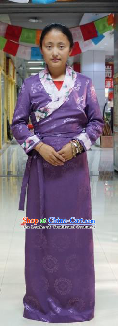 Chinese Traditional Zang Nationality Purple Dress, China Tibetan Heishui Dance Costume for Women
