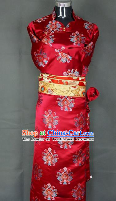 Chinese Traditional Zang Nationality Dress, China Tibetan Heishui Dance Red Brocade Costume for Women