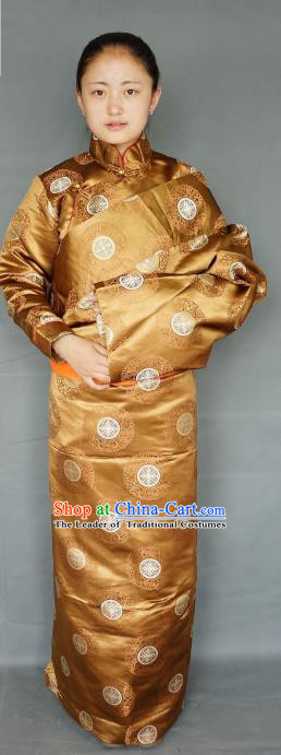 Chinese Traditional Zang Nationality Clothing Golden Tibetan Robe, China Tibetan Ethnic Heishui Dance Costume for Women