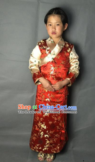 Chinese Traditional Zang Nationality Costume Red Brocade Dress, China Tibetan Ethnic Clothing for Kids
